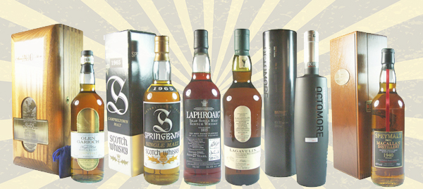 a selection of rare whiskies