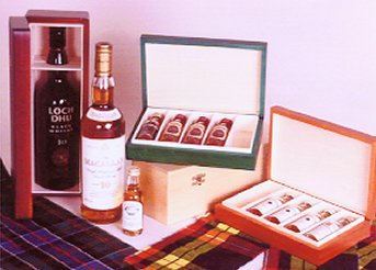 a range of whisky boxes